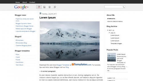 google plus blogger template
