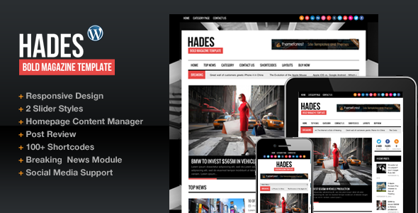 Hades Bold Magazine Newspaper Template WordPress Theme