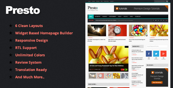 Presto – Responsive Magazine WordPress Theme