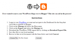 Wordpress2Blogger conversion utility