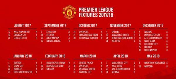Jadwal Manchester United Liga Inggris 2017-2018