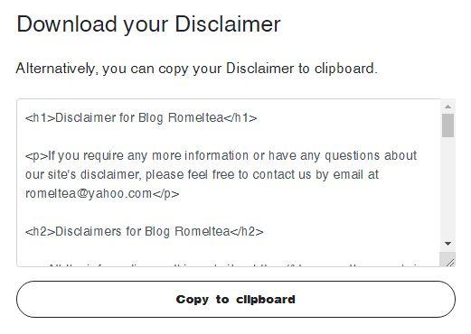 disclaimer blog web